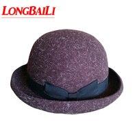 Winter Women Brown Wool Felt Bowler hats Female Chapeau Fedoras Feminino Free Shipping PWSX015