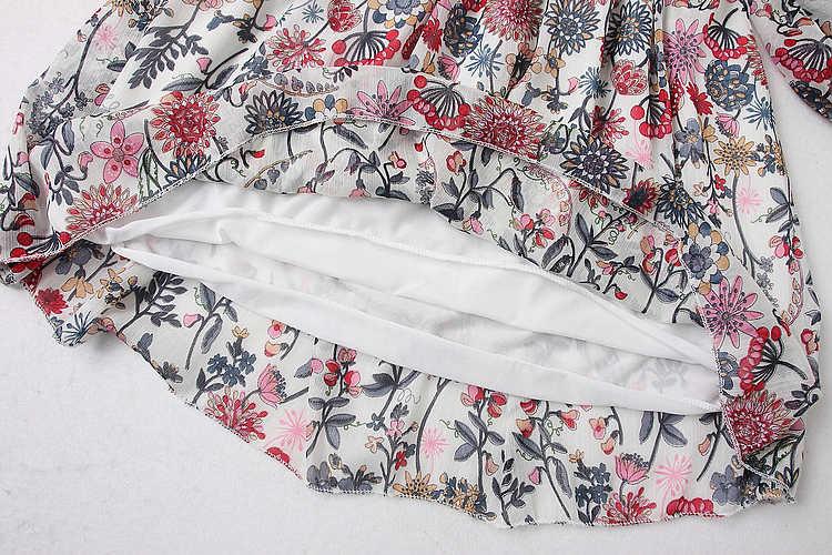 ALPHALMODA 2018 открытая спина с длинным рукавом цветочный принт платье кружевной отделки гофрированные полые сзади женские сексуальные весенние платья