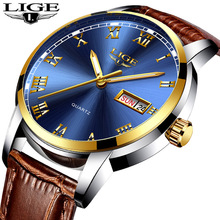 2018 LIGE Hot Luxury Brand Quartz Watch Men Casual Leather Hodinky Week Clock Waterproof Wristwatch Montre Homme+Box