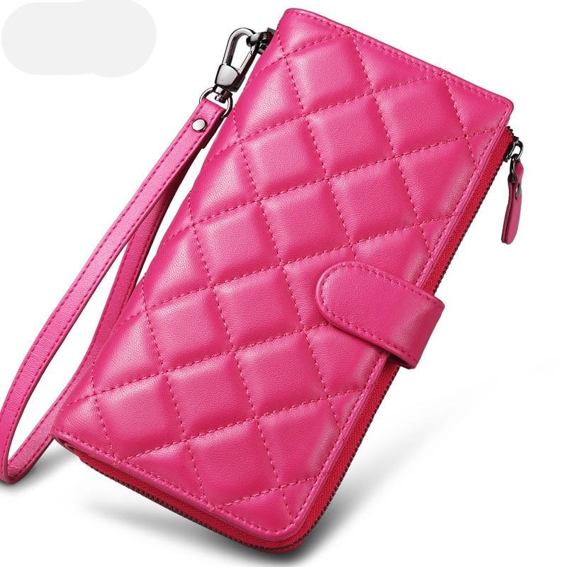 Sendefn Fashion Women Äkta Läder Fårskinn Lång Plånbok Plaid Clutch Plånbok Kvinnlig Korthållare Zipper Ladies Purse