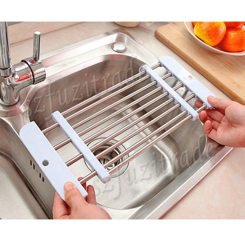 Sink Rack Roll Folding Drain Rack Stainless Steel Silicon Handy  Multifunctional Shelf Portable White  42