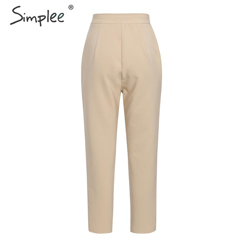 Simplee Solid casual harem pants female trousers High waist office ladies blazer suit pants Loose Ankle-length women pants 19 10