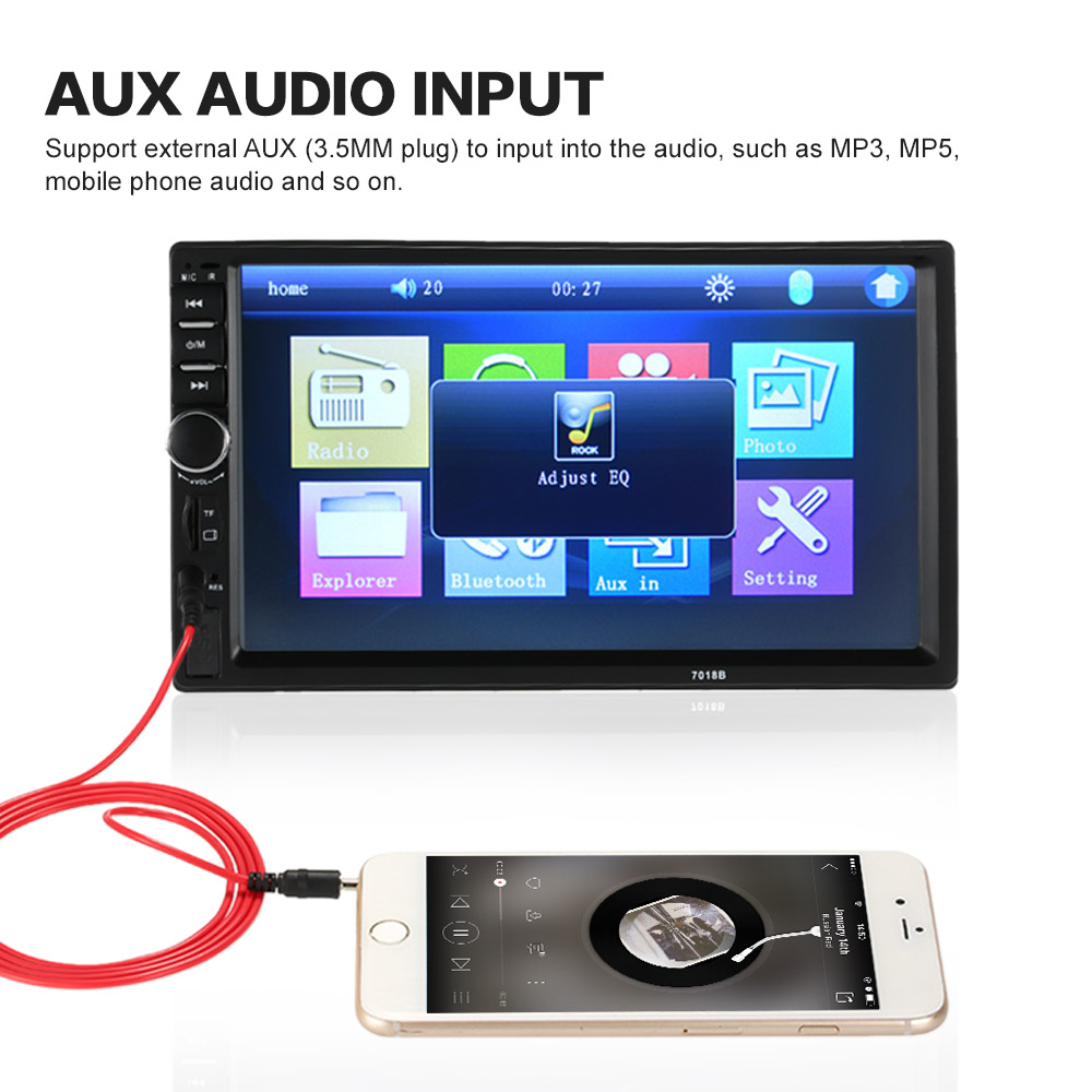 7 inch universal 2 din hd bluetooth car stereo fm radio mp5 player touch screen usb