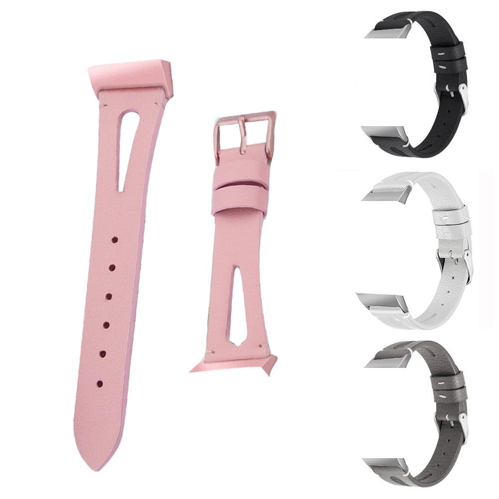 Replacement Leather Strap Watch Band Watch Top Layer Cowhide Open Strap With Metal Buckle For Fitbit Charge 3-in Smart Accessories from Consumer Electronics