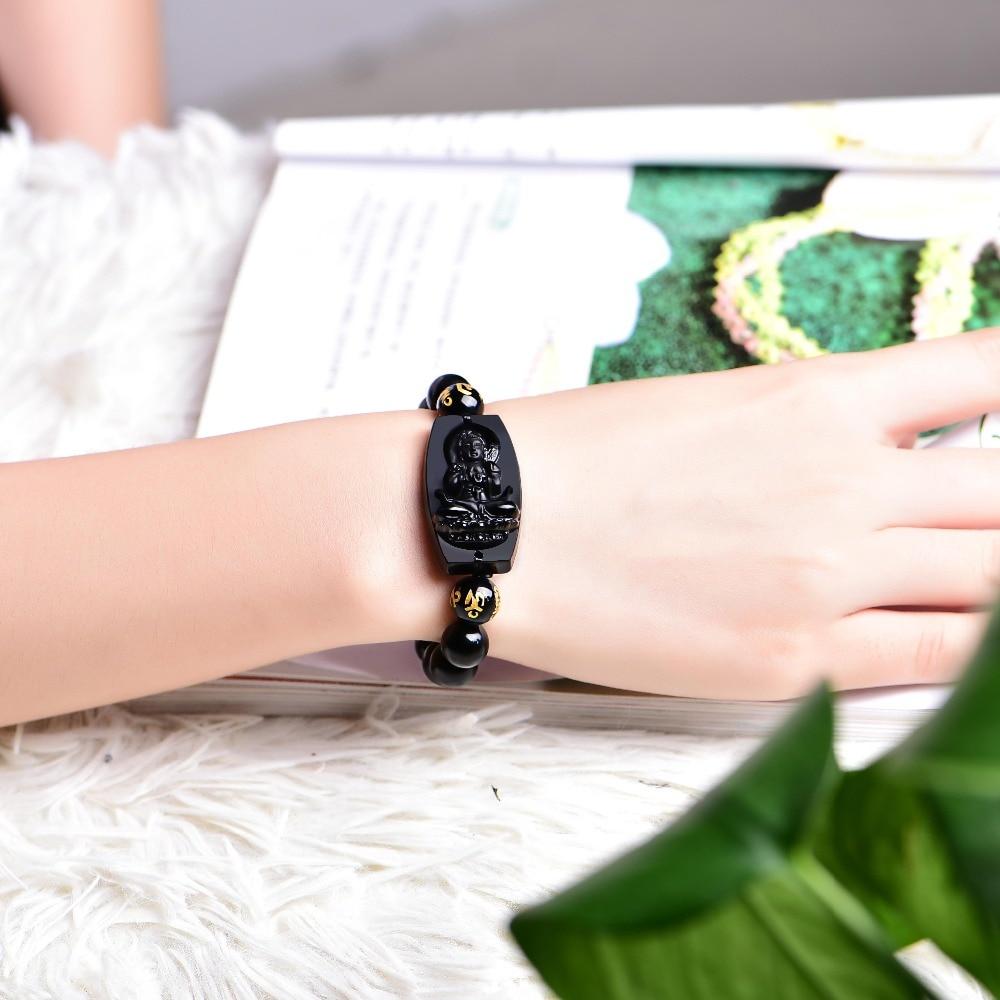 Natural Black Obsidian Buddha Bracelet 2