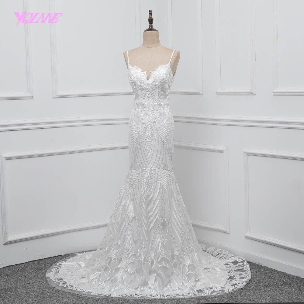 YQLNNE кружево Русалка свадебное платье 2018 Vestido De Noiva Спагетти спинки развертки свадебное платье с длинным подолом