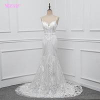 YQLNNE Lace Mermaid Wedding Dress 2018 Vestido De Noiva Spaghetti Backless Sweep Train Bridal Gown