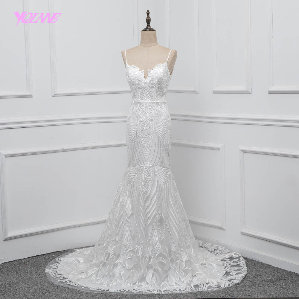 YQLNNE dentelle robe De mariée sirène 2018 Vestido De Noiva Spaghetti dos nu balayage Train robe De mariée