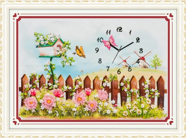 3d Flower Garden Ribbon Embroidery Painting Set Clock Watch