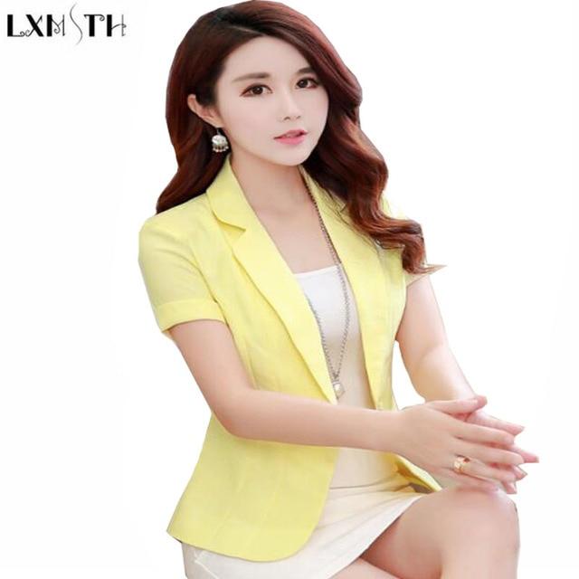 fd749f229c8e6 Short Sleeve Blazer Female 2019 Summer Women Short Coats Office Woman  Blazers Korean Ladies Slim Thin Casual Suit jacket S-2XL