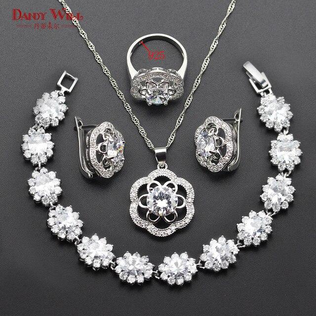 white zircon jewelry sets for women 925 logo silver color earrings