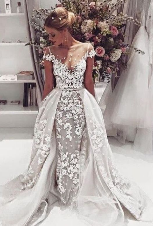 Robe Mariage Detachable Skirt Ivory White Wedding Dress 2016 Short Sleeves See Through Women Lace Bridal In Dresses From