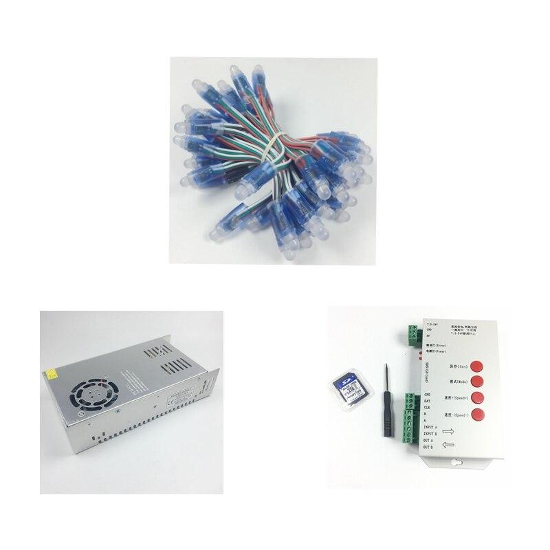 1000 pièces WS2811 Modules de pixels led DC 5V 12mm IP68 RGB diffusé adressable + contrôleur T1000S + 5V 70A adaptateur d'alimentation source lumineuse