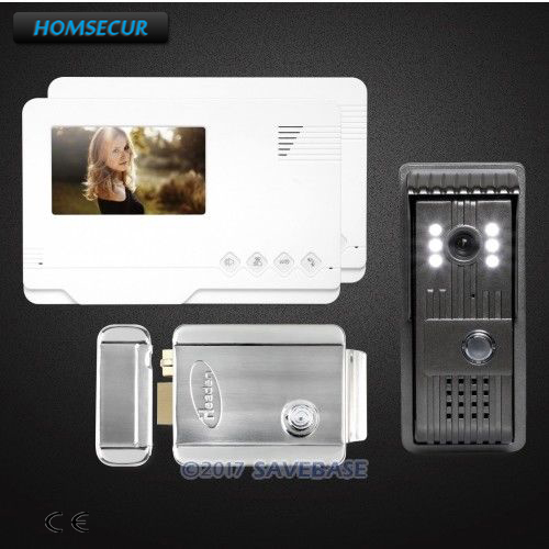 HOMSECUR 4.3inch Video Door Phone Intercom System With Quality Night-Vision with Color Images+1 Camera+2 Monitors+Electric Lock homsecur 7 video door phone intercom doorbell home security 1 camera 2 monitors night vision electric strike lock rfid keyfobs