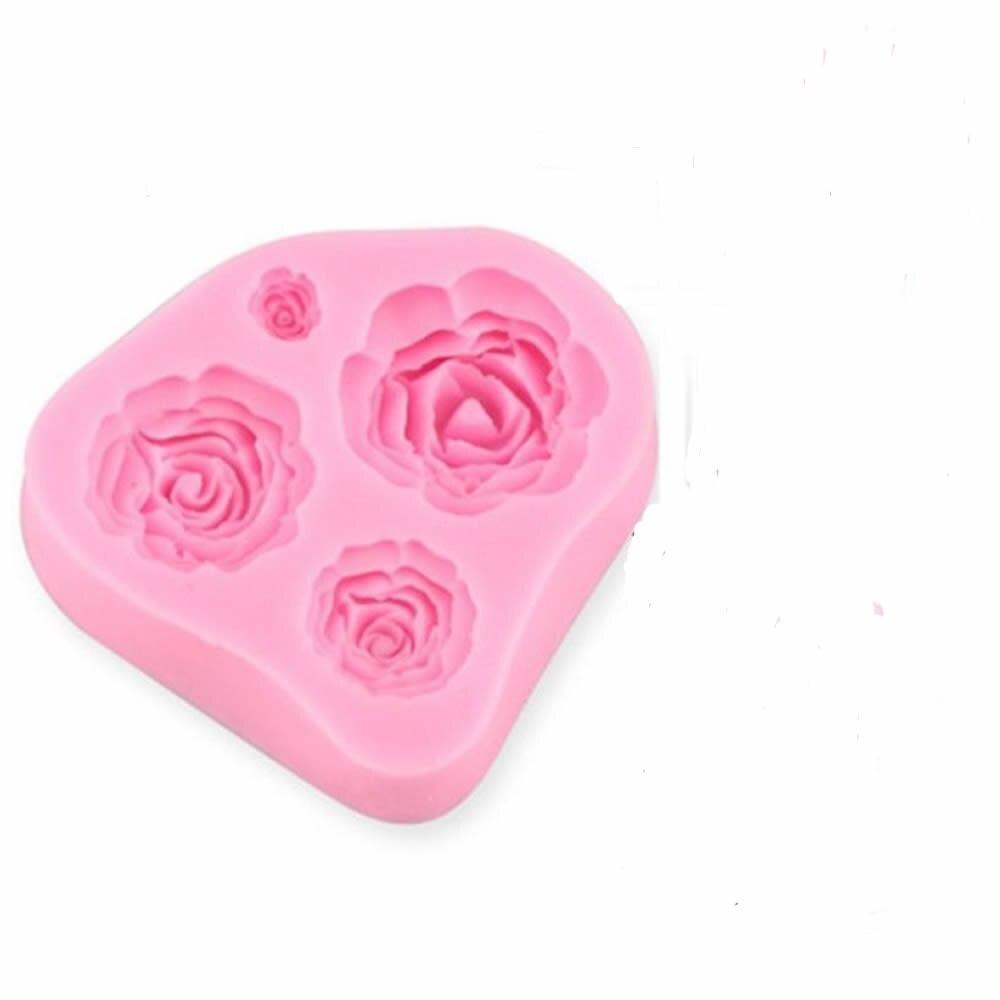1pcs 3d Rose Flowers Shape Cake Mold 4 Sizes Silicone Pink Fondant