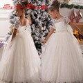 Branco vestido de Baile Little Kids Xmas Flor Meninas Vestidos Para casamentos Sheer Lace Bow Tulle Pageant vestido de Festa Vestido de Mangas Curtas 2016