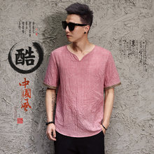 Chinese wind-cotton hemp T-shirt with loose linen short sleeves in summer-2658(China)