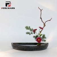 Vintage Elegant Black Coarse Pottery Flower Pot Vase Semicircle Flowerpot Hydroponics Bonsai Ceramic Planters Food Fruit Plates