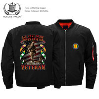Dropshipping USA Size Unisex Men Vietnam Veterans Flight MA 1 Jacket Printed Bomber Jacket Coat Motorcycle jacket
