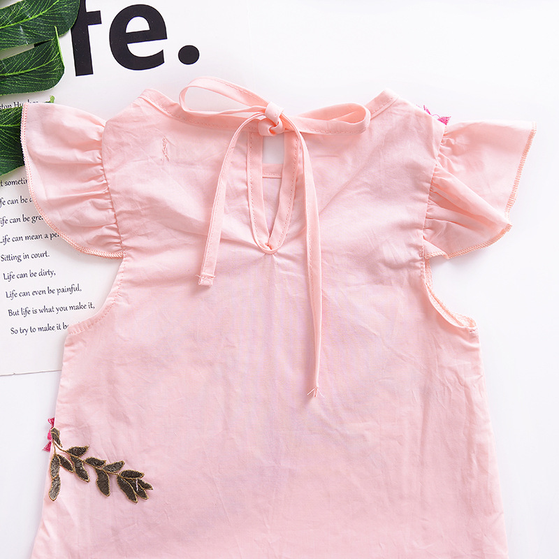 Summer Kids Elegant Flower Pleated Dress Mini Casual Ruched Floral Tops Baby Girl Clothes Cute Toddler Outfits Cotton Princess in Dresses from Mother Kids