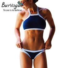 Burvogue женщин летом жарко спортивный стиль комплект бикини росту повод-образным комплект бикини с низкой талией и смешанный цвет бикини пляж купальный костюм