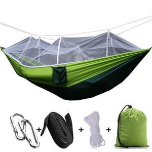 Image 5 - Portatile di Campeggio Esterna Amaca con Zanzariera Letti Amache In Tessuto Paracadute Appeso Altalena Sleeping Bed Tree Tenda