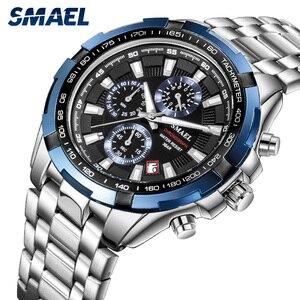 Image 3 - SMAEL Uhren Männer 2020 Top Marke Luxus Quarz Uhren Große Zifferblatt Wasserdicht Chronograph Sport Armbanduhr Relogio Masculino 9063