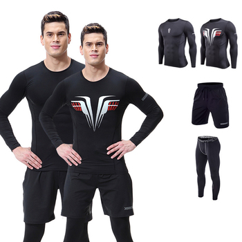 2019 Running Set Men's Gym Clothes Stretchy Compression Tights Sportswear Fitness Training Sports Jogging Suits 3 in1 set #1852