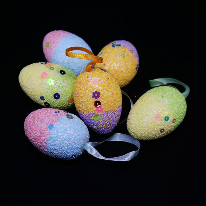 30Pcs Easter Bubble Easter Egg Craft Foam Egg Cartoon Painted Eggshell With Rope