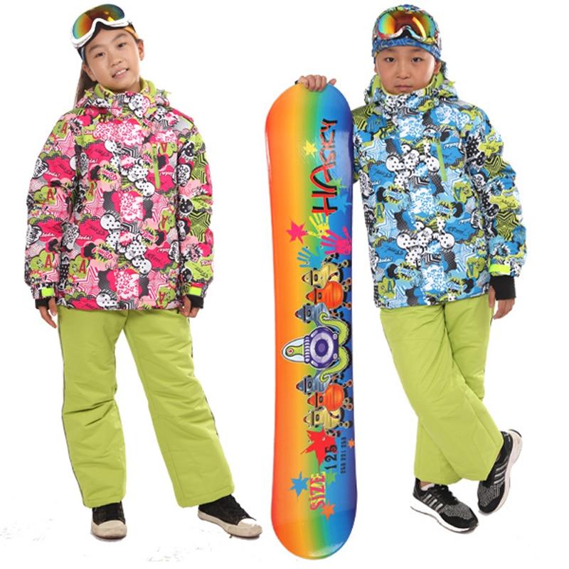 Prix pour 2016 Moins-30 Degrés Enfants Survêtement À Capuchon Manteau Enfants Sportifs Vêtements de Ski Imperméable Coupe-Vent Garçons Filles D'hiver Ensembles PYS619
