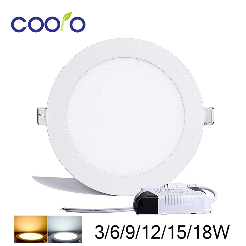 HOT SALE AC85-265V LED Panel Light 3W 6W 9W 12W 15W 18W LED ceiling Light Round Ultra thin LED downlight,free shipping led panel 300mm 300mm 18w edge lit super bright ultra thin glare free