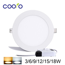 HOT SALE AC85-265V LED Panel Light 3W 6W 9W 12W 15W 18W LED ceiling Light Round Ultra thin LED downlight,free shipping