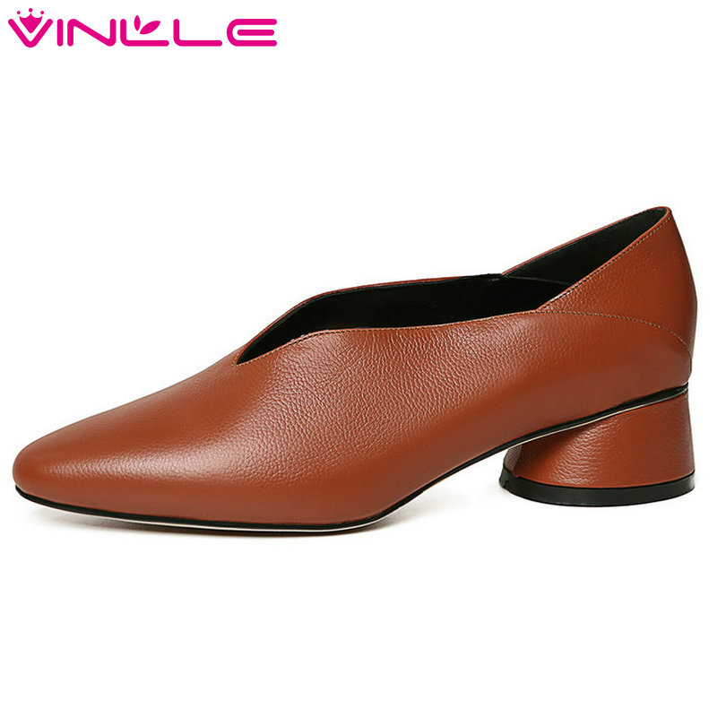 VINLLE 2018 Women Pumps Square Med Heel Pointed Toe Genuine Leather Platform Vintage Style Ladies Casual Shoes Size 34-39 women ladies flats vintage pu leather loafers pointed toe silver metal design