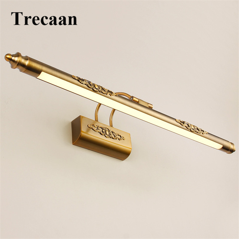 Trecaan 50cm 8w Bathroom Mirror Lamp Waterproof Retro Bronze Cabinet Vanity Mirror Lights Led Wall Light Lamp Free Shipping modern minimalist waterproof antifog aluminum acryl long led mirror light for bathroom cabinet aisle wall lamp 35 48 61cm 1134