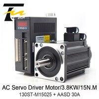 WaveTopSign 3.8KW AC Servo Motor Driver 15N.M 2500RPM 130ST M15025 AC Motor Matched Servo Motor Driver AASD 30A Complete Motor