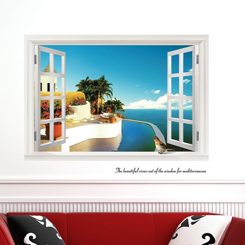 3D Fake Window Wall Stickers Home Decor Obývací pokoj Seascape Lepicí obrazy na stěnu Vinyl Art Sticker Removable