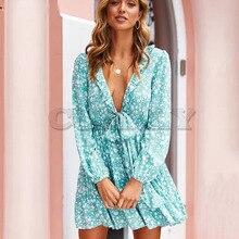 Cuerly Sexy ruffle print bow short dress women Autumn new v neck elegant female Casual beach daily vestidos L5