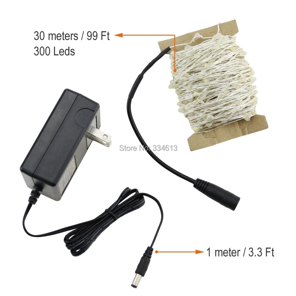30M / 99FT 300 светодиод Cool White Light Күміс Wire - Мерекелік жарықтандыру - фото 5