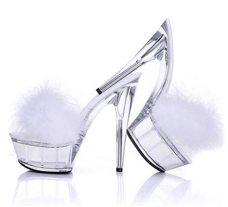 Summer hot selling women platform high heel slippers Fashion red/black/white clear transparent crystal sandals Outdoor slides