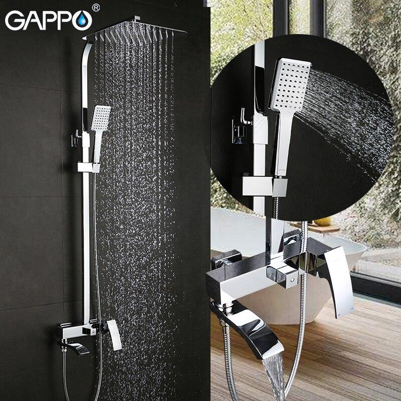 GAPPO sistema de chuveiro de chuva cromo chuveiro torneira da banheira torneira misturadora cachoeira cabeça de chuveiro de parede Do Banheiro grandes sobre a cabeça
