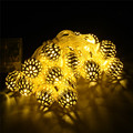 1/2/3m Golden Moroccan Orb LED String Lights Battery Operated with 10/20/30 Leds, Christmas wedding decor lights light string