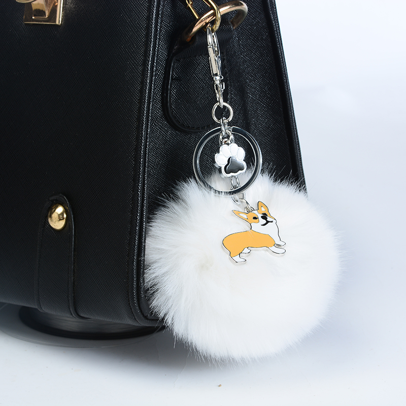 Welsh Corgi Pembroke Rabbit Fur Pompom Key Chain For Women Men Alloy <font><b>Pom</b></font> <font><b>Pom</b></font> Dog Pendant Bag Charm <font><b>Keyring</b></font> Car Keychain Key Ring image