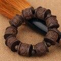 Zhai galería de caoba tallada de madera natural de ébano cuentas de madera pulsera a mano sobre hombres y mujeres amantes Wenwan cuentas de madera