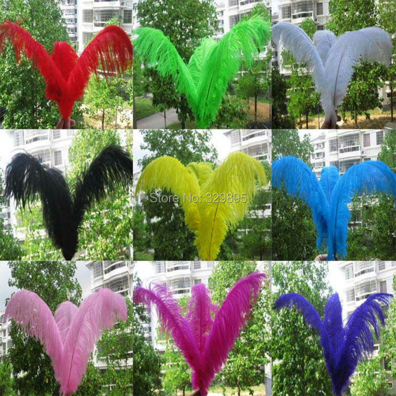 Wholesale Natural Plume 50 pcs 11 colors Ostrich Feather 35 40cm 14 16 inch Wedding Birthday