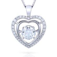 TRNASGEMS 2.3ctw Carat Lab Grown DF Moissanite Diamond Solid 18K White Gold Pendant Necklace Wedding Birthday Gift