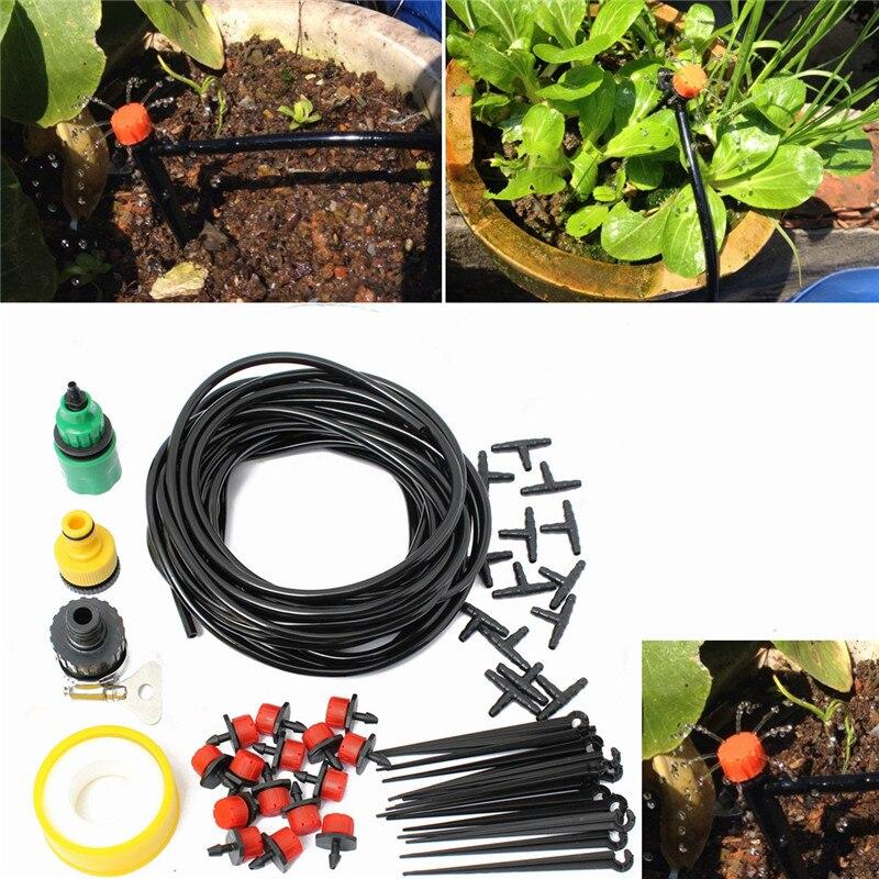 10 m 32.8ft Micro Système D'irrigation Goutte à goutte Atomisation Arrosage Auto Jardin Tuyau Kits avec Connecteur Micro Arrosage De Refroidissement Suite