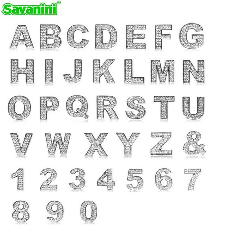 savanini car styling luxury diy diamond 3d chrome letters number