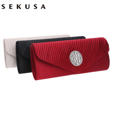 SEKUSA Satin Ruched Fashion Women Evening Bags Rhinestones Chain Shoulder Bag/Soft Lady Dress Purse Evening Bags