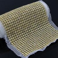 1 Yard 24 Rows SS18 Rhinestones Trim Gauze Golden plated Transparent Stones Sewing Craft R80624F01