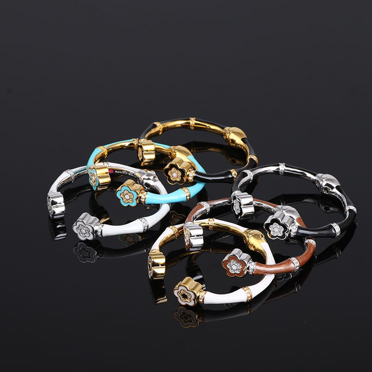 European and American texture enamel bamboo section hand painted pearlescent encrusted opening elastic multicolor bangle